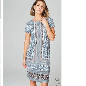 J. Jill  Mixed-Print A-Line Knit Dress Large TALL